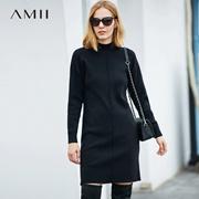 Amii[极简主义]休闲温暖 半高领落肩袖连衣裙 冬季简洁显瘦毛衣裙