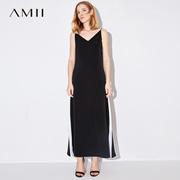 Amii[极简主义]2017夏装新款大码露肩吊带撞色拼接连衣裙11782909