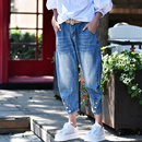 米可可 韩版洋气磨色收脚高腰宽松直筒锥型九分牛仔裤女秋N8111