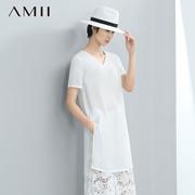 【秒杀】Amii[极简主义]夏女新V领短袖大码中长款直筒雪纺衫11671002