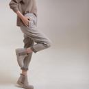 米可可  K2111文艺大码韩版保暖松紧腰休闲裤 运动裤女 18秋冬新