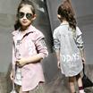 PG 2016新款儿童秋装女大童韩版长袖上衣女童条绒衬衫中长款小孩衬衣 H60813A07