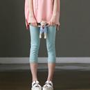 米可可 特●A0203 文艺弹力薄款舒适纯棉多色七分打底裤女 夏