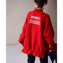 米可可   R9363 文艺大码半高领字母花苞宽松大版红色卫衣女 18冬