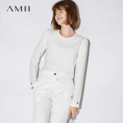 Amii[极简主义]2017秋装新款简洁圆领五角星绣花长袖T恤11724718