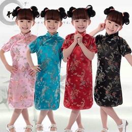 Dress child costume dress girl dress dress small dragon photos  children  princess dress baby Brocade