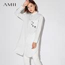 Amii[极简主义]2017秋装新款女大码休闲条纹绣花开衩衬衫11744614