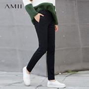 Amii[极简主义]帅气温暖 撞色辑线内抓绒牛仔长裤 冬季修身裤子