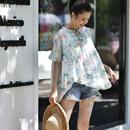 米可可 C6722文艺印花系带花边短袖宽松小衫苎麻娃娃薄款衬衫女