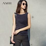 Amii[极简主义]2017夏装新款纯色百搭修身显瘦无袖外穿背心女打底