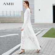 Amii极简ins小香风法式连衣裙2018春季新纯色绑带露背浪漫蕾丝裙