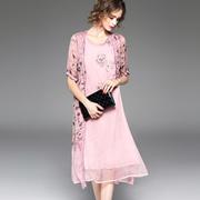 欧洲站2017夏季新款女装欧美重工刺绣印花修身显瘦连衣裙女两件套