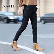 Amii[极简主义]2016冬修身低腰内加绒侧拉链洗水牛仔长裤11643193