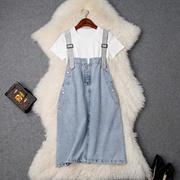 2019春夏女装新款圆领短袖白色T恤+钉钻牛仔背带裙减龄套装T9648