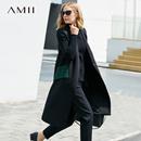 Amii[极简主义]轻熟干练 撞色V领马夹女 2017秋装新双排扣长外套