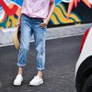 米可可 N5155 文艺大码磨白立体剪裁纯棉蓝色BF直筒牛仔裤女 夏