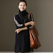 Z6126A 通勤简约袖拼条螺纹插肩袖高领套头开叉针织衫女 米可可