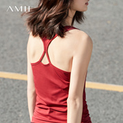 Amii[极简主义]2017夏装新款纯色百搭修身工字背心女无袖打底衫