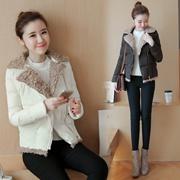 秋冬新款2016韩版女装气质修身棉衣短款西装领羊羔毛羽绒棉服外套