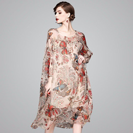 欧洲站2018春夏季新款女装宽松大码廓形印花真丝波西米亚连衣裙女