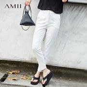 Amii[极简主义]2017夏装新款女大码通勤绣花细条纹西装裤11731866