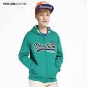 OURQ青少年童装新款春秋男童卫衣外套休闲连帽卫衣OLSB2MC31C
