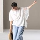 米可可 T8363 文艺宽松不对称蕾丝花边短袖纯棉造型T恤女2019夏