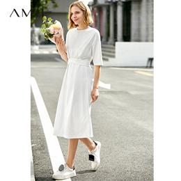 Amii极简法式小清新短袖中长连衣裙2019春夏新款纯棉圆领收腰裙子