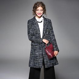欧美2017秋冬新款女装欧美亮线修身显瘦格纹中长款呢大衣厚外套女