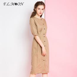 夏季原创复古纯色简约棉麻连衣裙女亚麻收腰修身显瘦气质款中长裙
