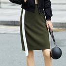 Amii[极简主义]2017秋新品条纹织带H型撞色半身裙11764669