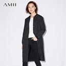 Amii[极简主义]2017秋装新女大码休闲棒球领条纹抽绳风衣11774981