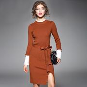 欧美2017秋冬新款女装喇叭袖修身显瘦长袖中长针织打底连衣裙开叉