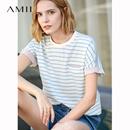 Amii极简欧货港风chic潮T恤女2019夏季新款圆领宽松撞色条纹上衣