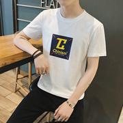 CHRIS 2018春夏季新款港风短袖半袖t恤衫五分袖刺绣休闲日系宽松衣服男