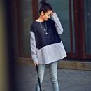 T9822 韩版圆领套头拼接条纹长袖宽松显瘦中长款大衬衫女2019秋米可可