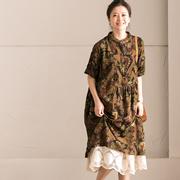 新品包邮 Q9711B 文艺小立领复古印花大码高腰衬衫式中袖连衣裙
