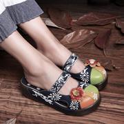 聚皇2016头层牛皮花朵瑶瑶鞋平跟真皮印花凉鞋时尚甜美女鞋