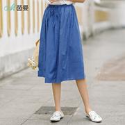 茵曼2018夏装新款纯色橡筋高腰显瘦A字半身裙短裙女F1882110975