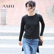 Amii[极简主义]2016冬新品时尚圆领落肩袖前短后长毛衣女11672036