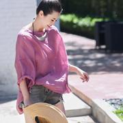 米可可 C8861 文艺大码前短后长宽松显瘦罩衫 薄款亚麻衬衫女夏