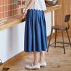 茵曼 2017夏装新款A摆褶皱百搭显瘦半身牛仔裙女1872110166