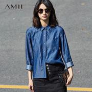 Amii[极简主义]通勤尖领长袖大码水洗牛仔衬衫11760212
