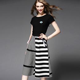 欧美女装时尚套装夏装新款眼睛图案短袖T恤+条纹时尚阔腿裤套装女