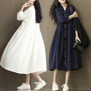 2016春夏新款宽松大码女装文艺复古棉麻长袖波西米亚长款连衣裙子