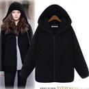 秋冬季韩版大码女装宽松中长款休闲加绒加厚带帽大衣女士毛呢外套