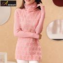 秋冬新款韩版修身长袖中长款高领针织打底衫蕾丝拼接套头女毛衣棉