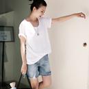 米可可 T5902百搭大码弹力圆领短袖薄款显瘦修身打底T恤女19夏