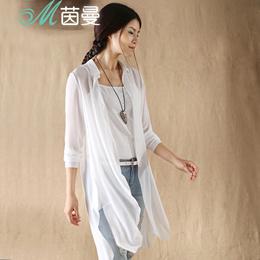 茵曼 2015夏装新款简约净色不规则下摆长袖雪纺开衫8522910329
