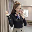 秋装新款韩版修身套头毛衣女木耳边长袖针织打底衫蝴蝶结系带上衣